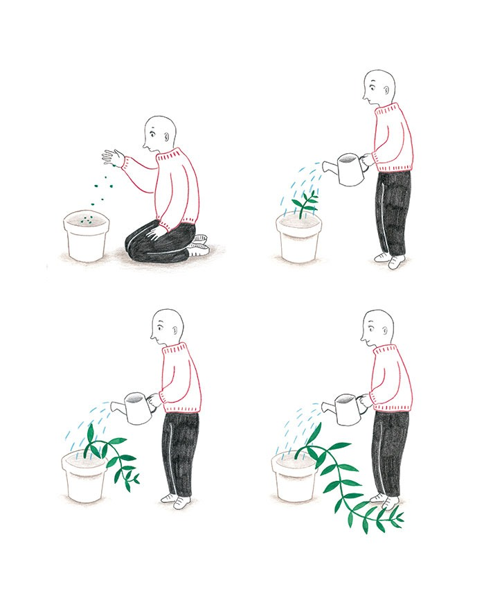 Ilustración sobre riego de plantas, Mar Villar, regar plantas, botanical illustration, plant story, watering plants,