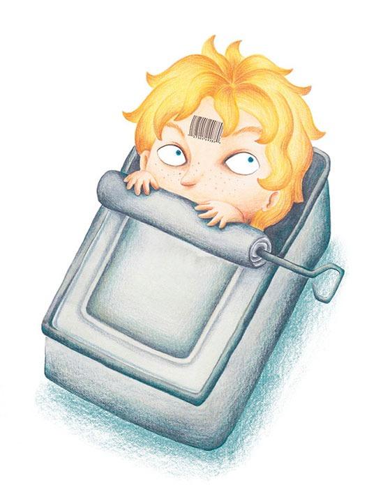 Ilustracion para Konrad o el niño que salio de una lata e conservas, Loqueleo, Mar Villar, Christine Nöstlinger, Conrad the factory-made boy