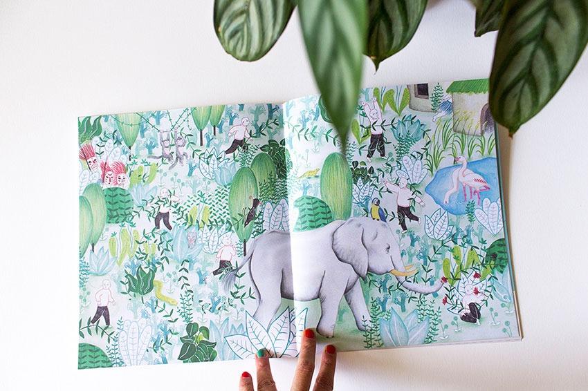 Ilustración de selva, plantas,, Mar Villar, botanical illustration, plant story, watering plants, elephant illustration, jungle, walking into the jungle,