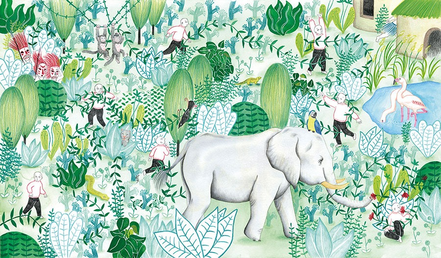 Ilustración de selva, plantas, Ilustración de elefante, plantas, elefante, Mar Villar, botanical illustration, plant story, watering plants, elephant illustration, jungle, walking into the jungle,