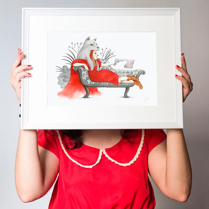 Caperucita roja, ilustracion de caperucita roja, caperucita y el lobo, Mar Villar,