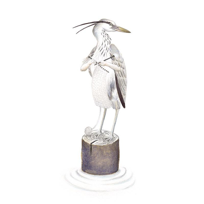 Inktober 2017, Mar Villar, ilustracion de aves, bird illustration, ilustracion de pajaro, ilustracion a tinta, grey heron, garza real, ardea cinerea