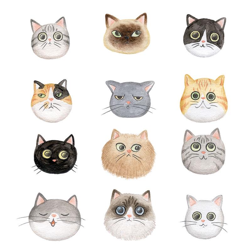 ilustracion de gatos, dibujo de gatos, ilustracion infantil de gatos, razas de gatos, Mar Villar, retratos de gatos, ilustracion personalizada de gatos, cat illustration, cat faces, crazy cat lady, cat prints, cats illustration to buy, tictail prints