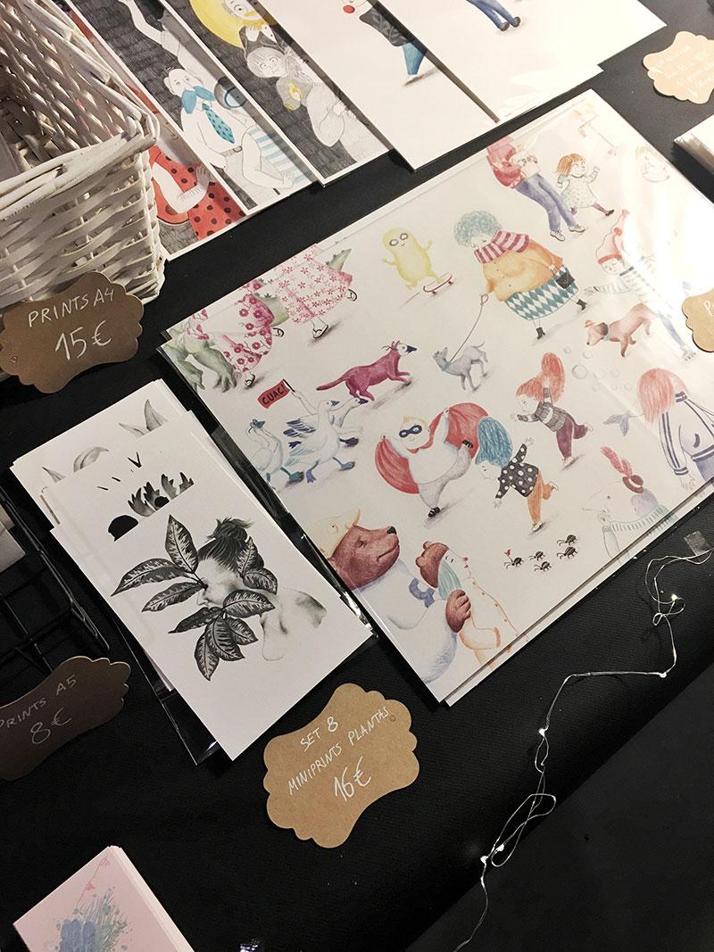 Mazoka 2017, Centro cultural Montehermoso, depósito de aguas, mercado de ilustración, stand de ilustración, Mar Villar, feria de ilustración, láminas de ilustración, prints de ilustración