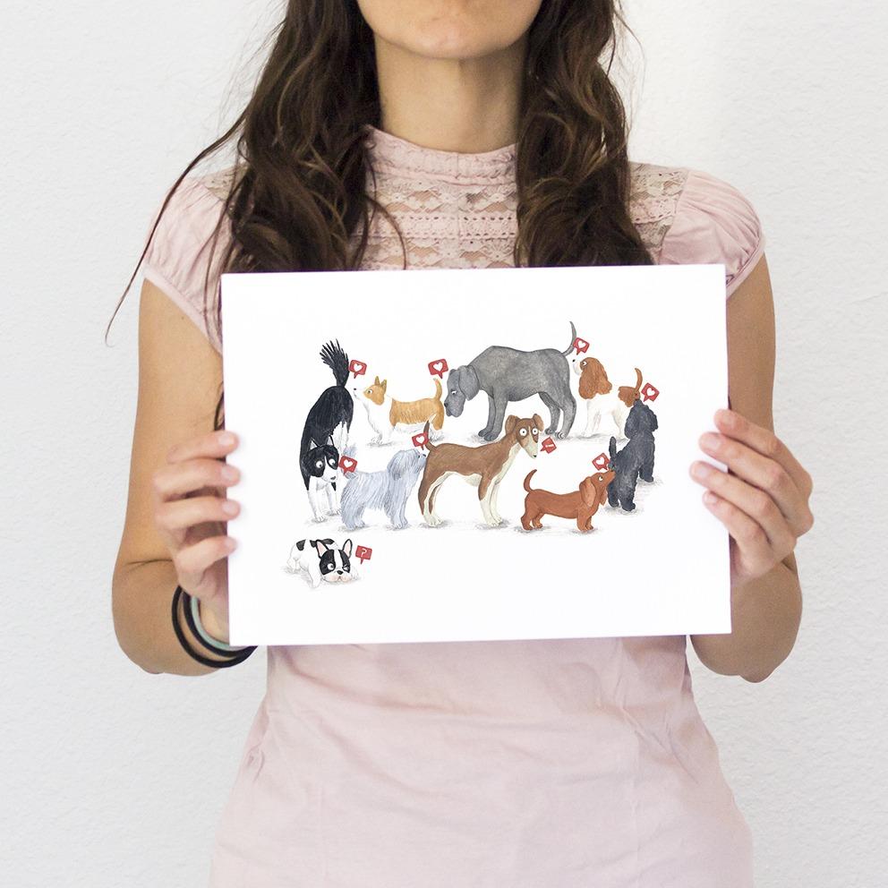 ilustracion de perros, dibujo de perros, ilustracion infantil de perros, razas de perros, Mar Villar, retratos de perros, ilustracion personalizada de perros, perros oliendo culos, Instagram perros, lámina de perros,  dog illustration, dog faces, dog prints, dogs illustration to buy, dog sniffing ass, tictail prints