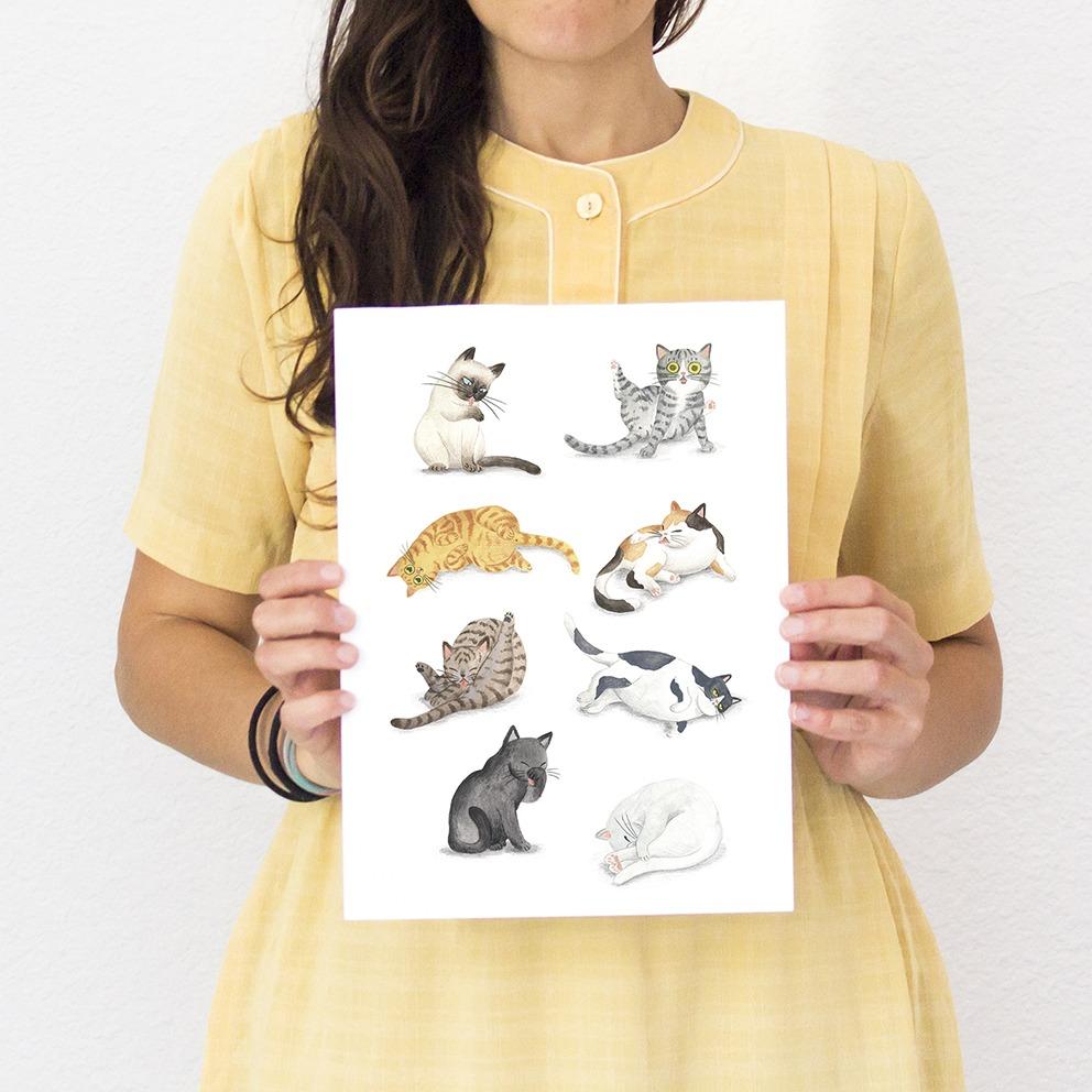 ilustracion de gatos, dibujo de gatos, ilustracion infantil de gatos, razas de gatos, Mar Villar, retratos de gatos, ilustracion personalizada de gatos, gato lavándose, gato lavandose el culo, lámina de gatos, cat illustration, cat faces, crazy cat lady, cat prints, cats illustration to buy, cats cleaning,  tictail prints