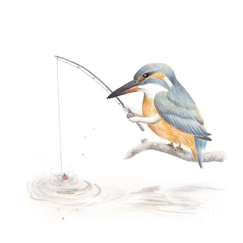 Inktober 2017, Mar Villar, ilustracion de paves, ilustracion de pajaro, ilustracion a tinta, bird illustration, kingfisher, martin pescador, alcedo atthis