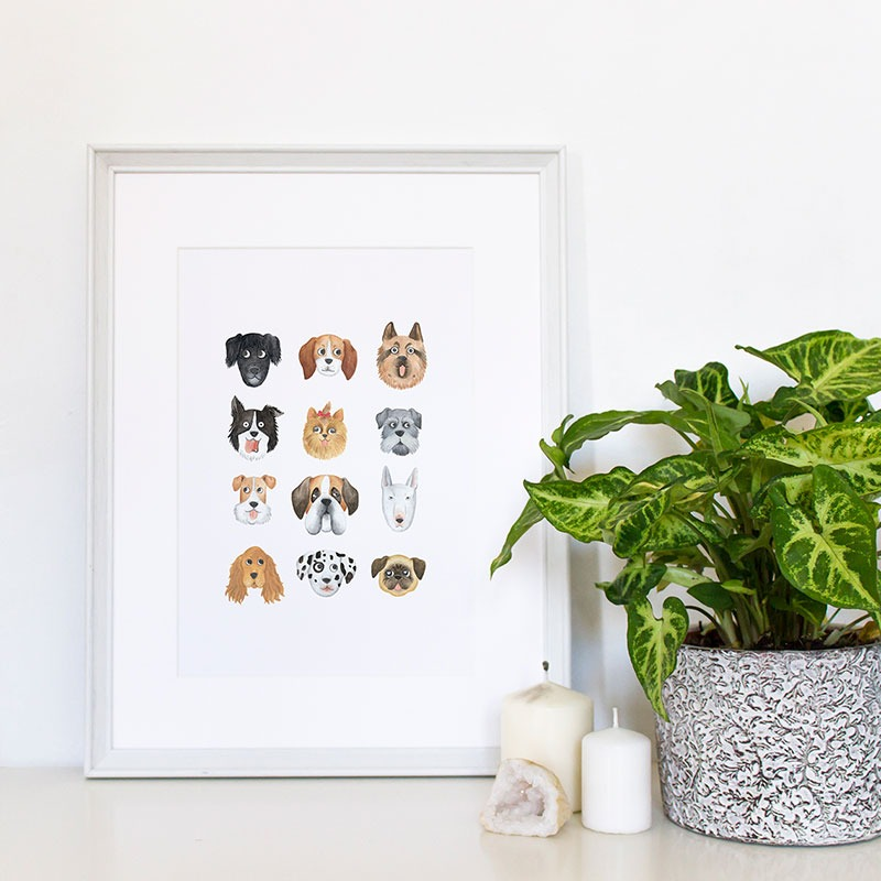 ilustracion de perros, dibujo de perros, ilustracion infantil de perros, razas de perros, Mar Villar, retratos de perros, ilustracion personalizada de perros,  dog illustration, dog faces, dog prints, dogs illustration to buy, tictail prints