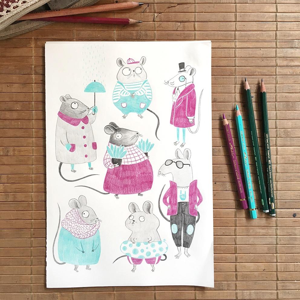 Diseño de personajes, personajes infantiles, personajes animales, ilustración infantil, ilustración de ratones, ilustración de lápices de colores,