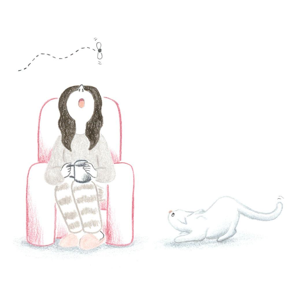 Distracción, organización para ilustradores, Mar Villar, procrastinar, gato cazando mosca