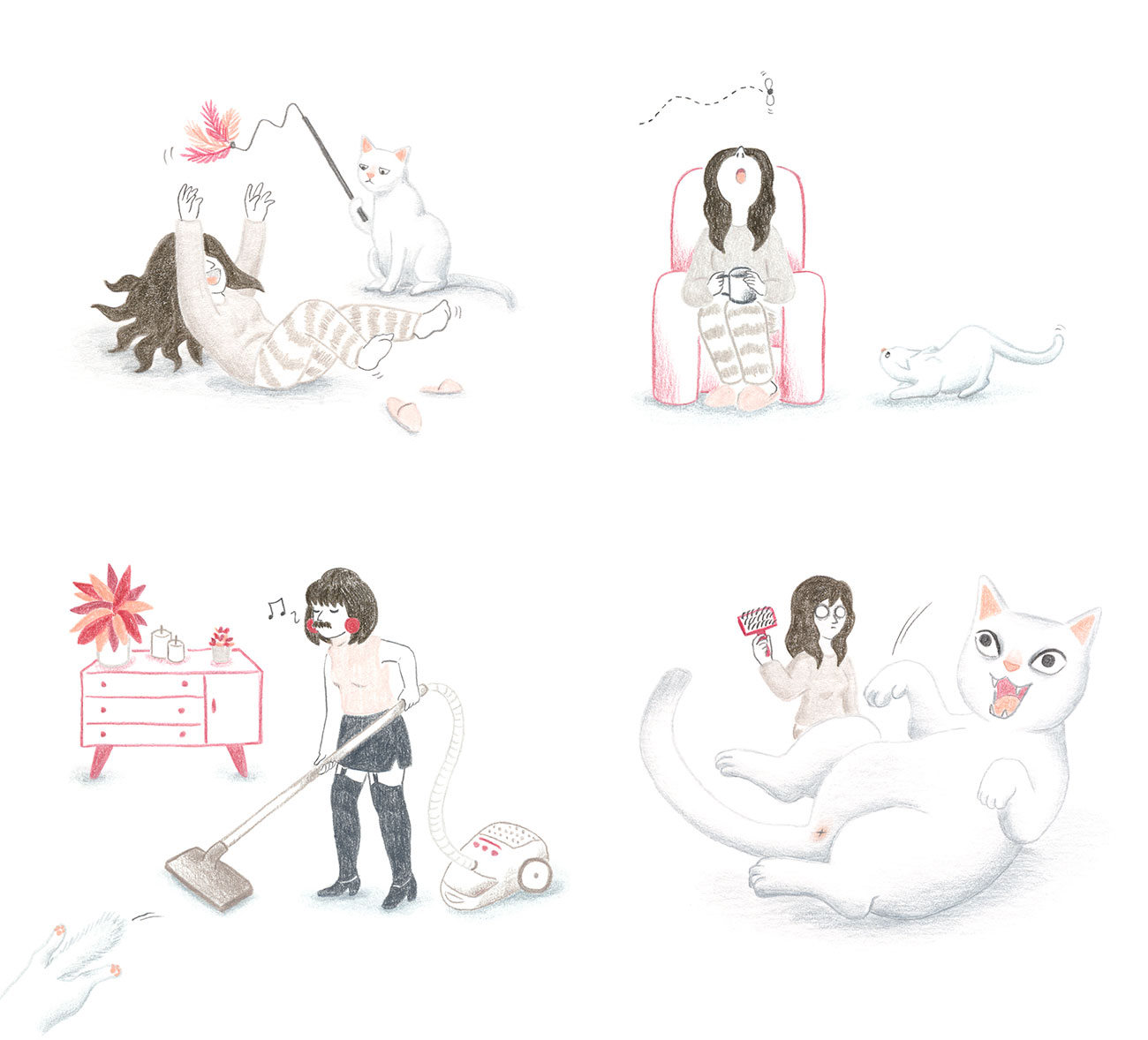Distracción, Trucos de organización para ilustradores que empiezan, organización para ilustradores, Mar Villar, procrastinar, gato cazando mosca, Freddie Mercury, I want to break free, cepillar gato, jugar con gato, plumero gato