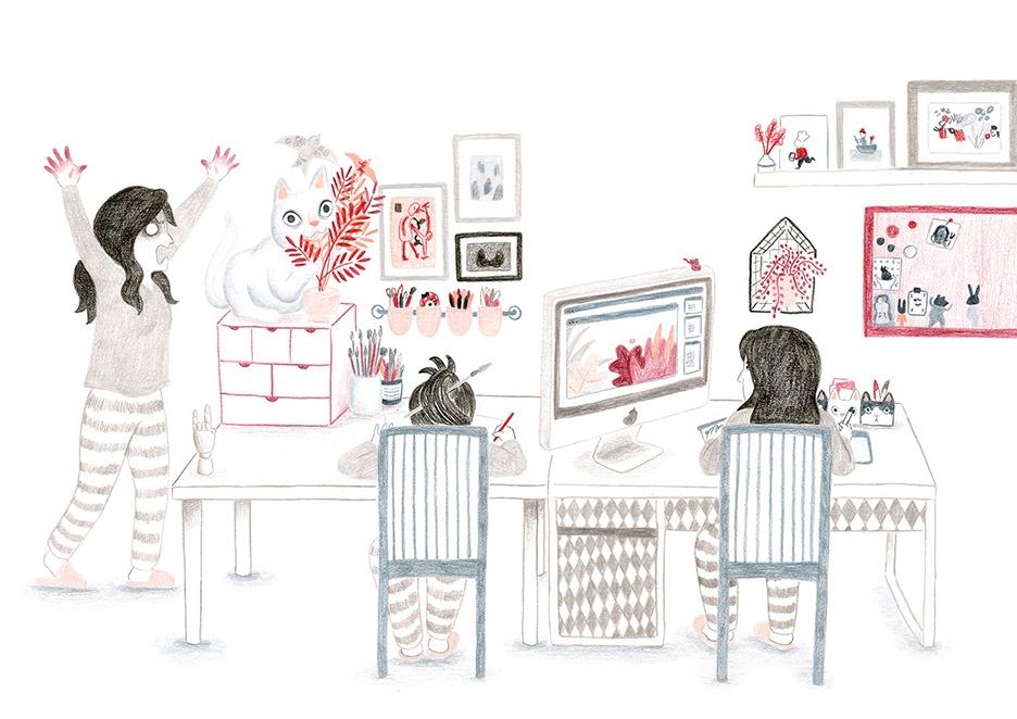 Mar Villar, estudio, gato, mesa de trabajo, bloqueo creativo, trabajar como ilustrador