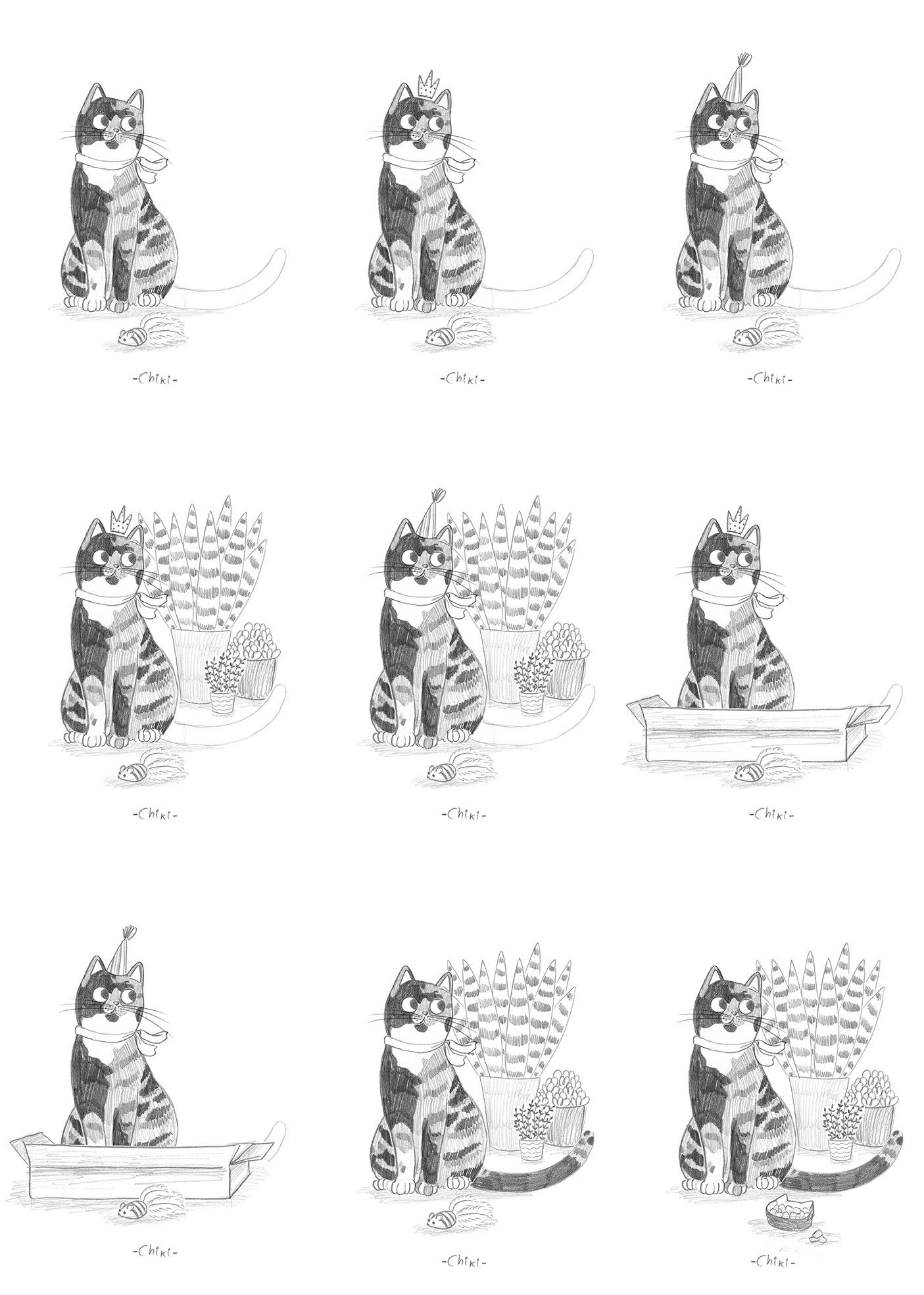 bocetos de gatos, proceso de bocetos, ilustracion de gatos, dibujo de gatos, ilustracion infantil de gatos, retrato de gato personalizado, retrato de mascota personalizado, Mar Villar, retratos de gatos, ilustracion personalizada de gato, ilustración personalizada de mascota,