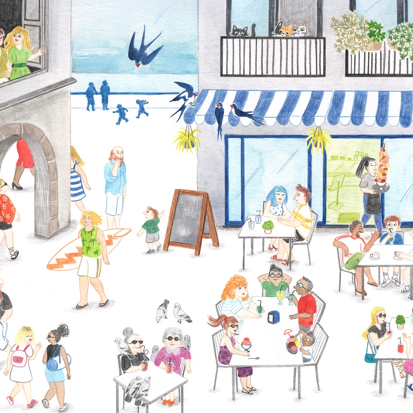 Ilustración de verano, ilustración veraniega, summer illustration, surf illustration, ice-cream, helados, tourists, coffee shop, cafetería, heladería, Mar Villar,