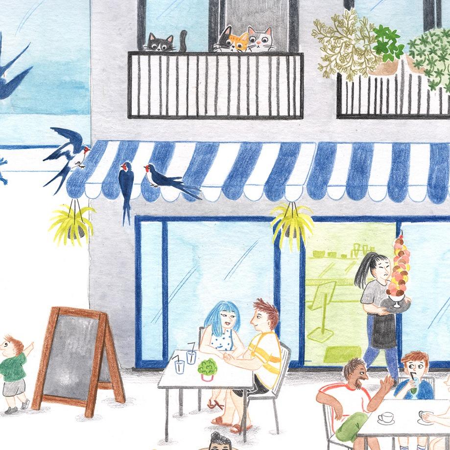 Ilustración de verano, ilustración veraniega, summer illustration, surf illustration, ice-cream, helados, tourists, coffee shop, cafetería, heladería, Mar Villar,