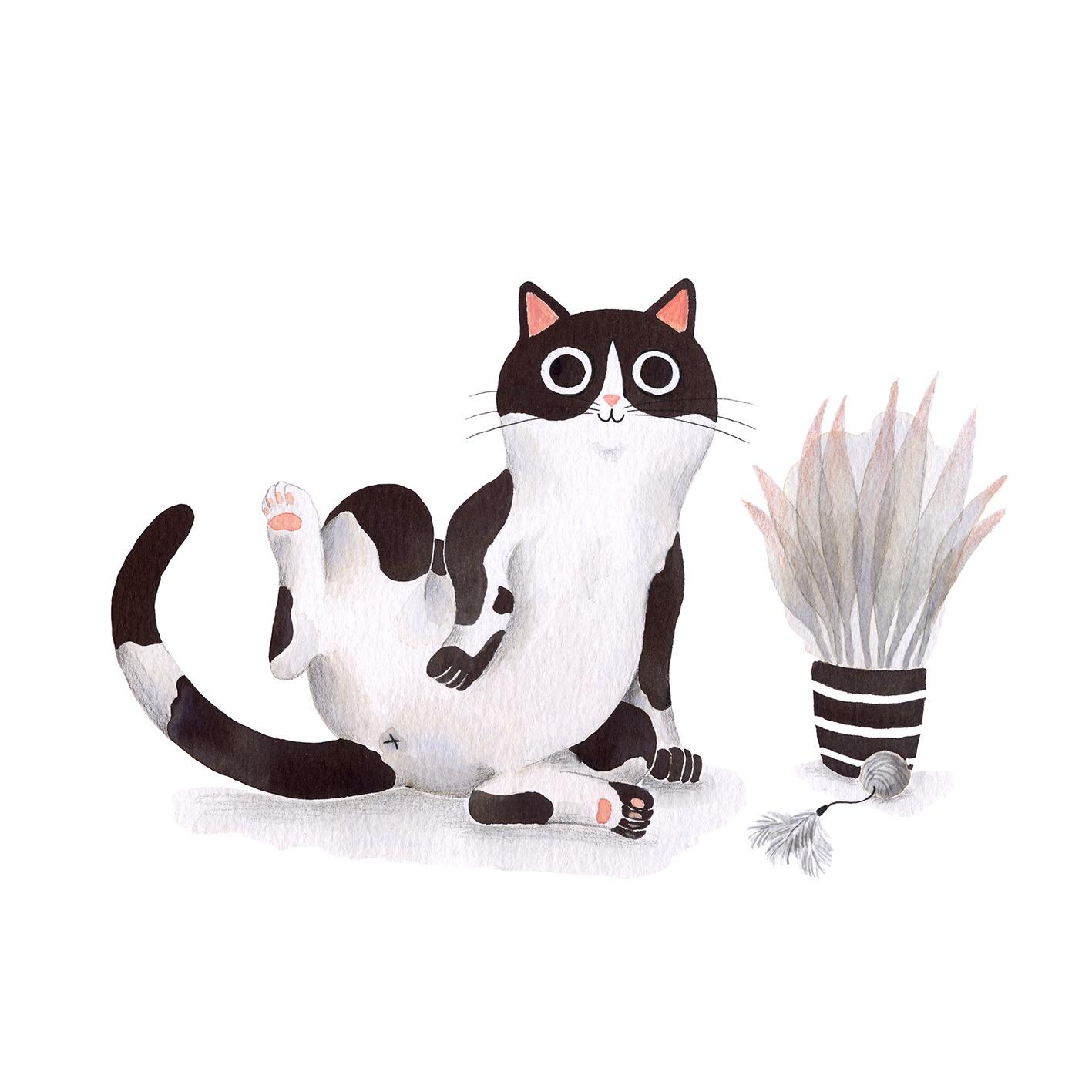 Ilustración de gato, Inktober, gato lavándose, retrato de gato