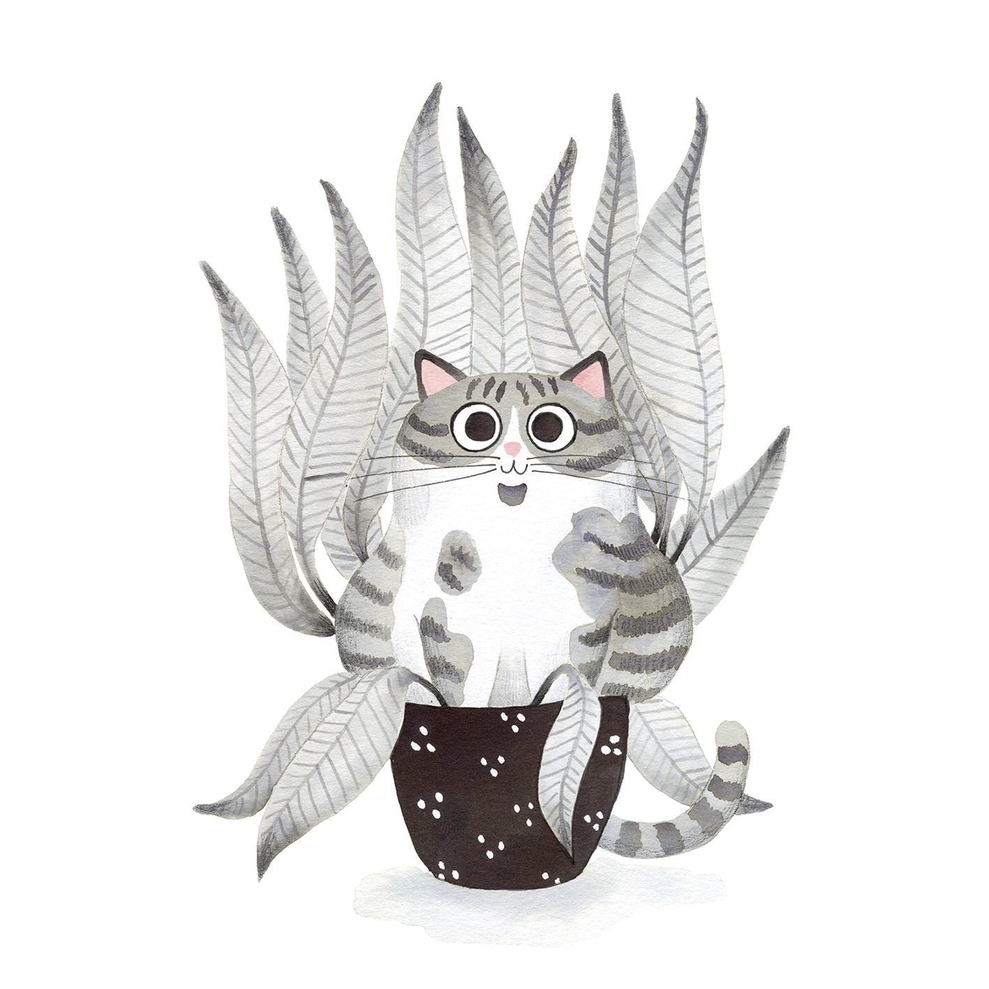 Ilustración de gato, Inktober, gato dentro de planta, retrato de gato