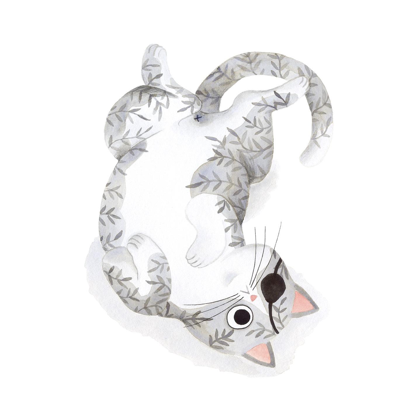 Ilustración de gato, Inktober, gato con parche, retrato de gato