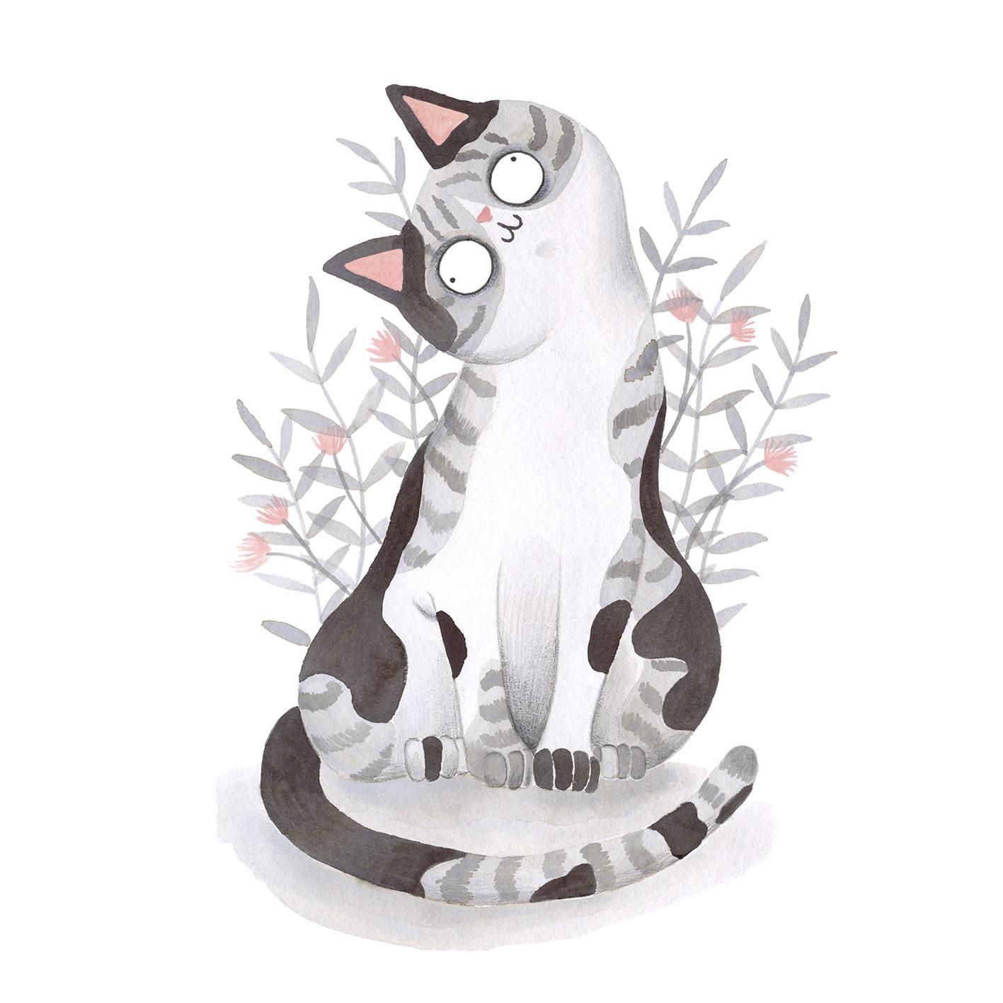 Ilustración de gato, Inktober, gato con plantas, retrato de gato