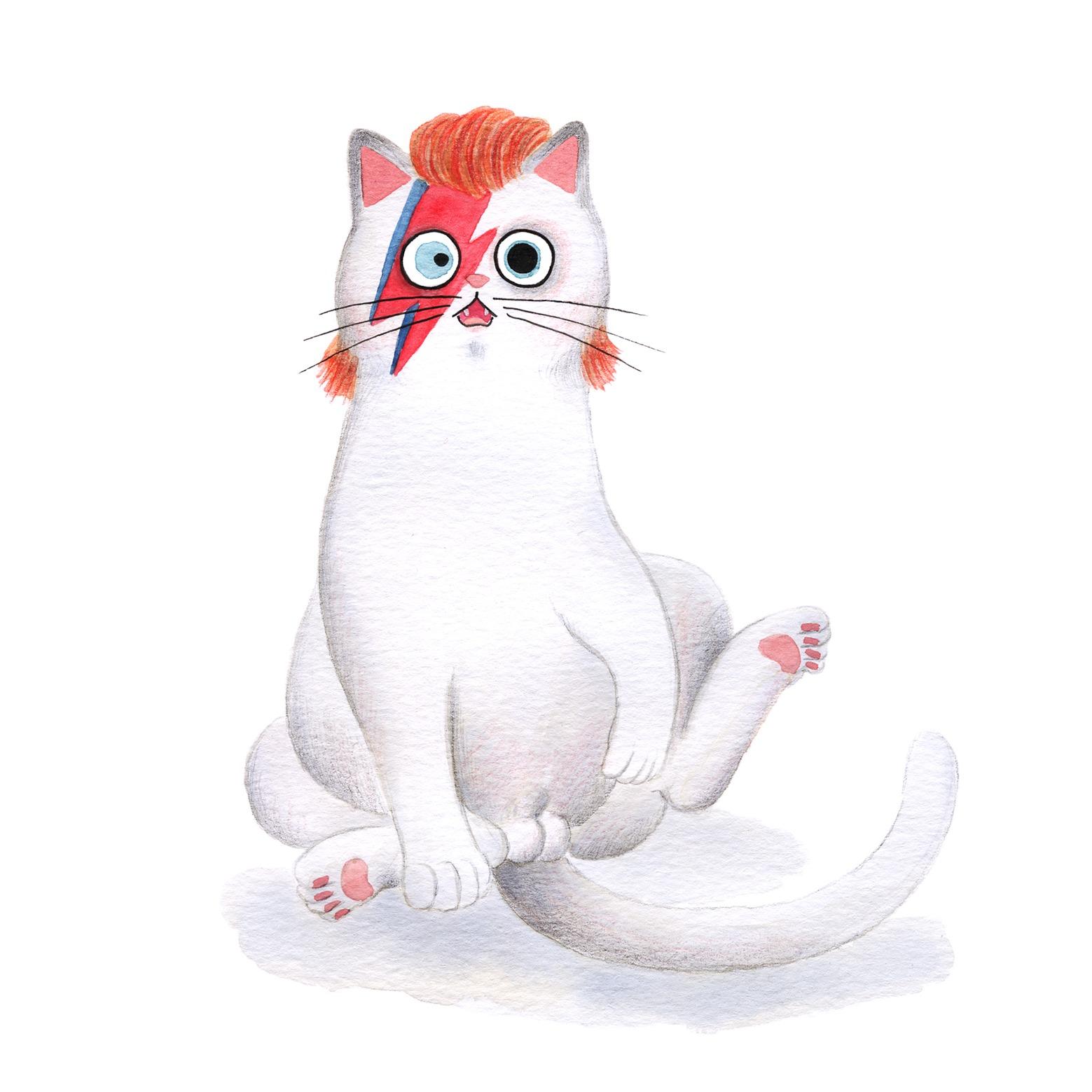 Ilustración de gato, Inktober, David Bowie, retrato de gato