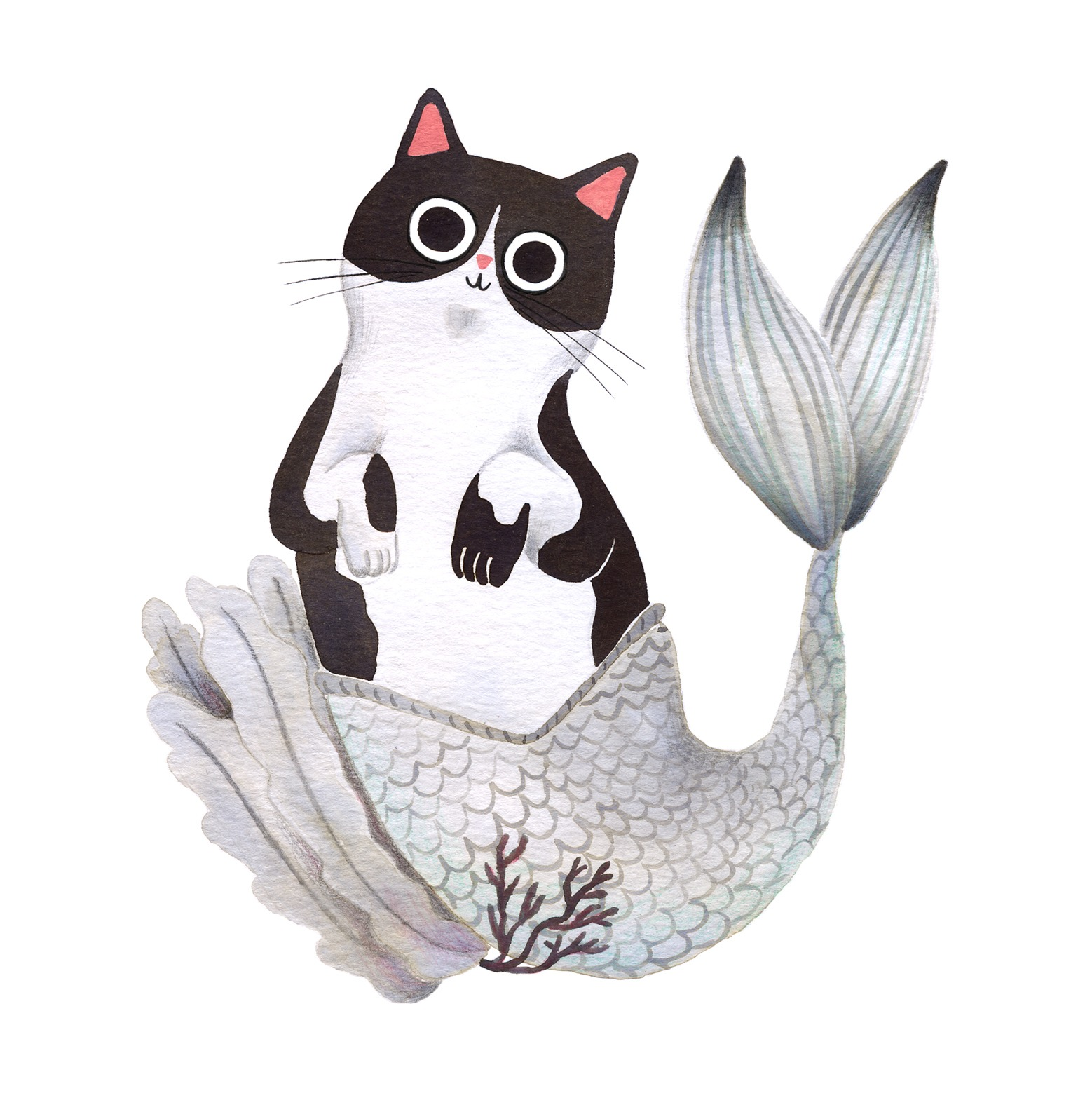 Ilustración de gato, Inktober, gato-sirena, retrato de gato