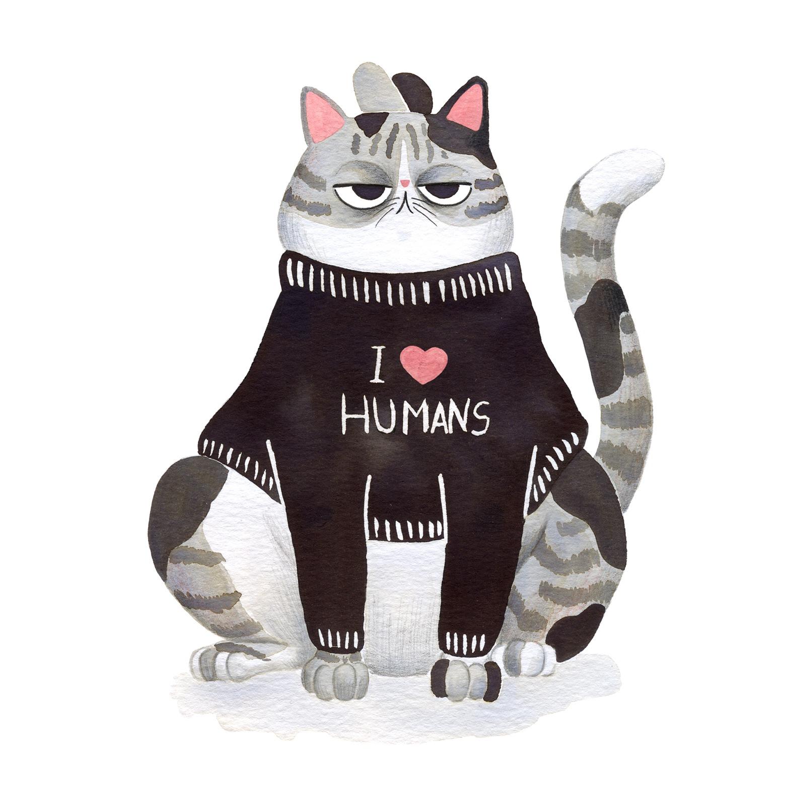 Ilustración de gato, Inktober, gato gordo, retrato de gato