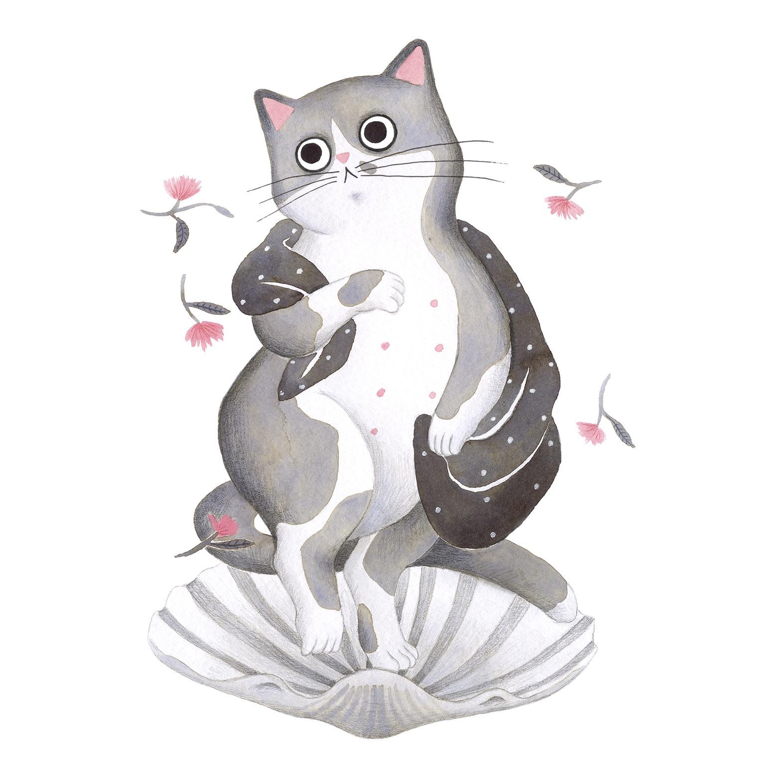 Ilustración de gato, Inktober, el nacimiento de venus, Botticelli, retrato de gato
