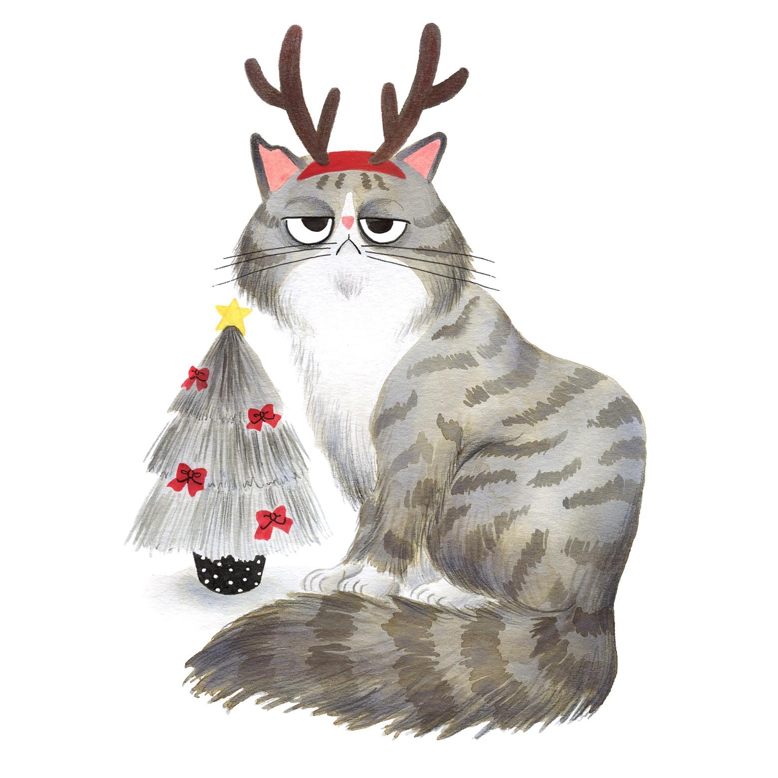 Ilustración de gato, Inktober, gato navideño, retrato de gato