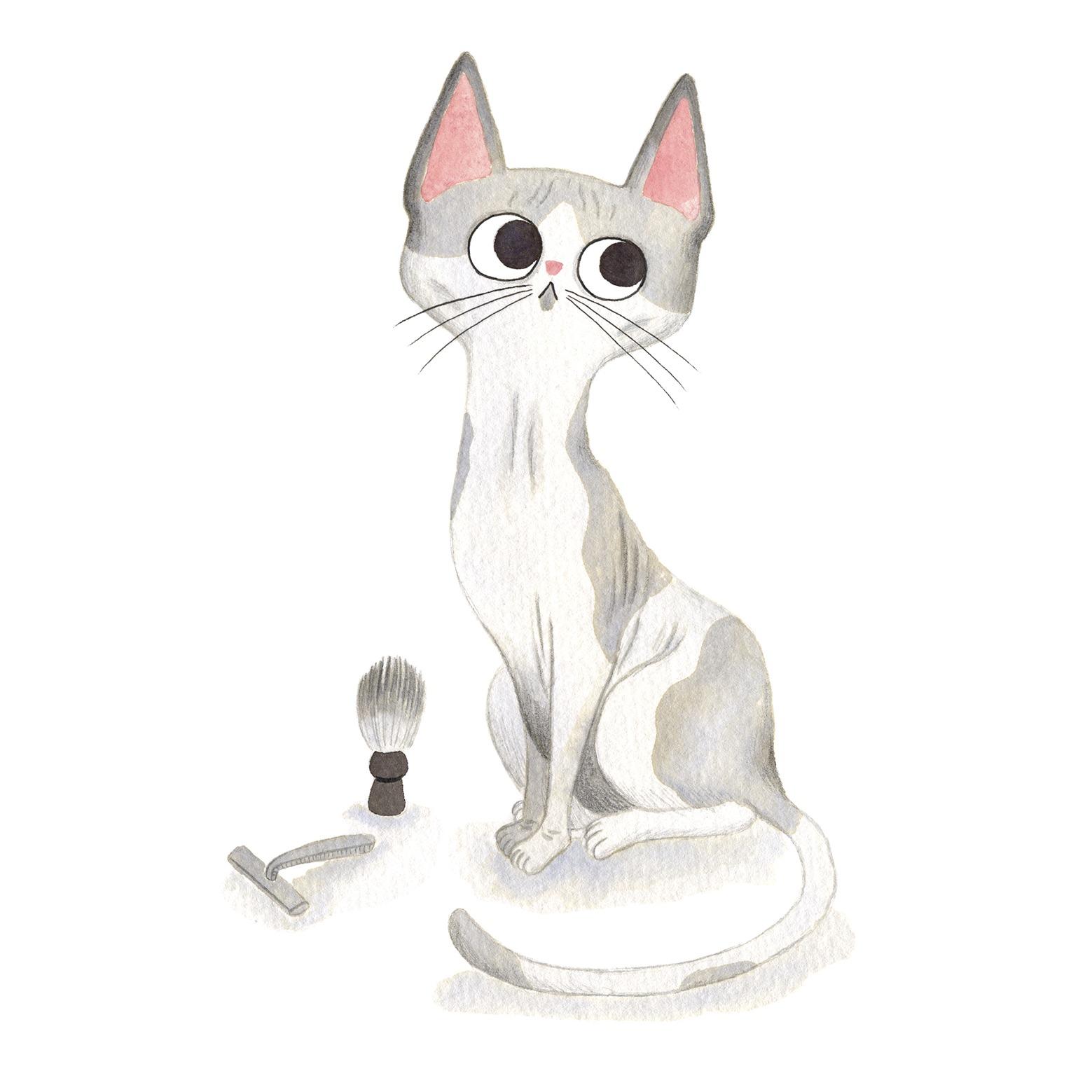 Ilustración de gato, Inktober, gato sin pelo, gato esfinge, sphinx cat, retrato de gato
