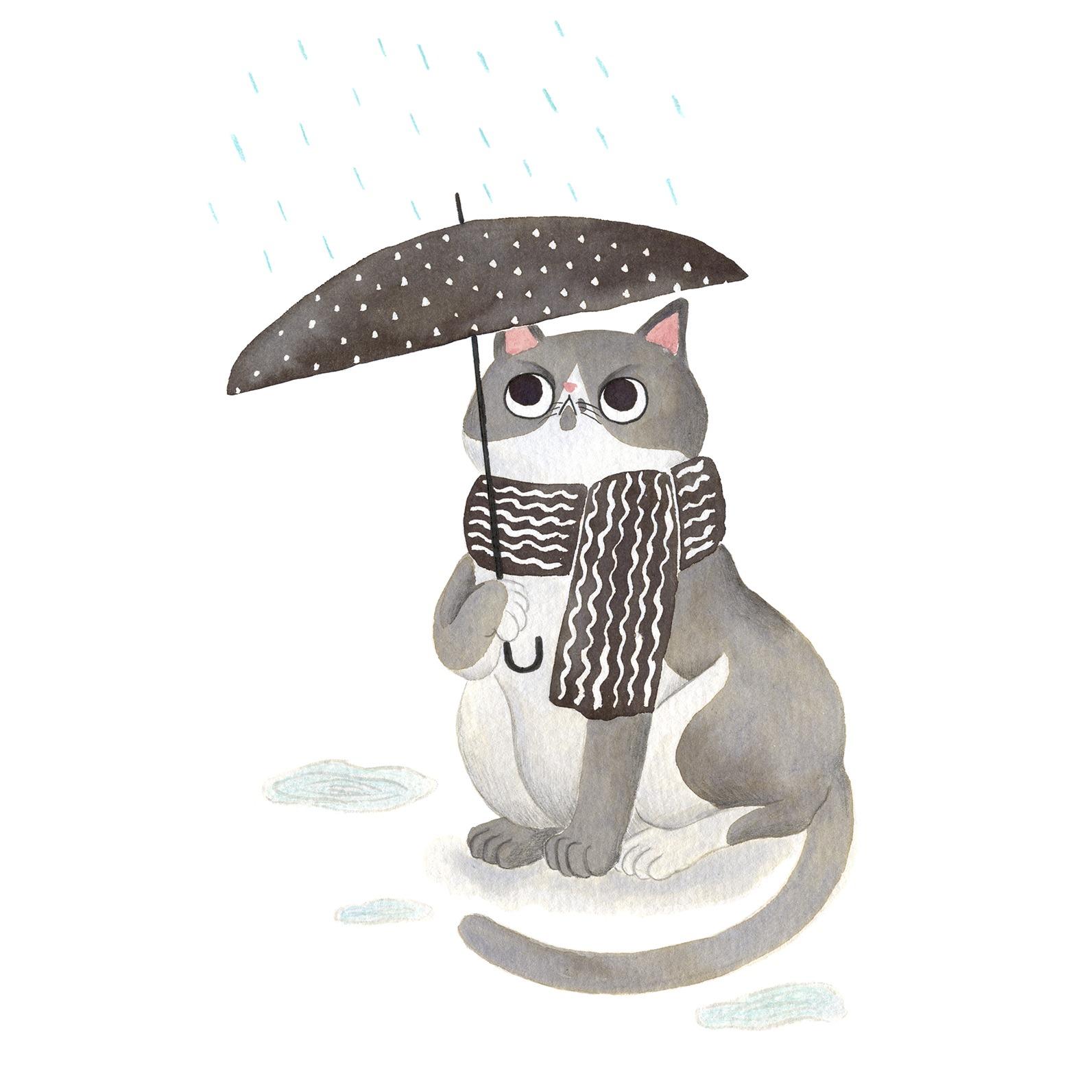 gato con paraguas, Ilustración de gato, Inktober, gato gordo, retrato de gato