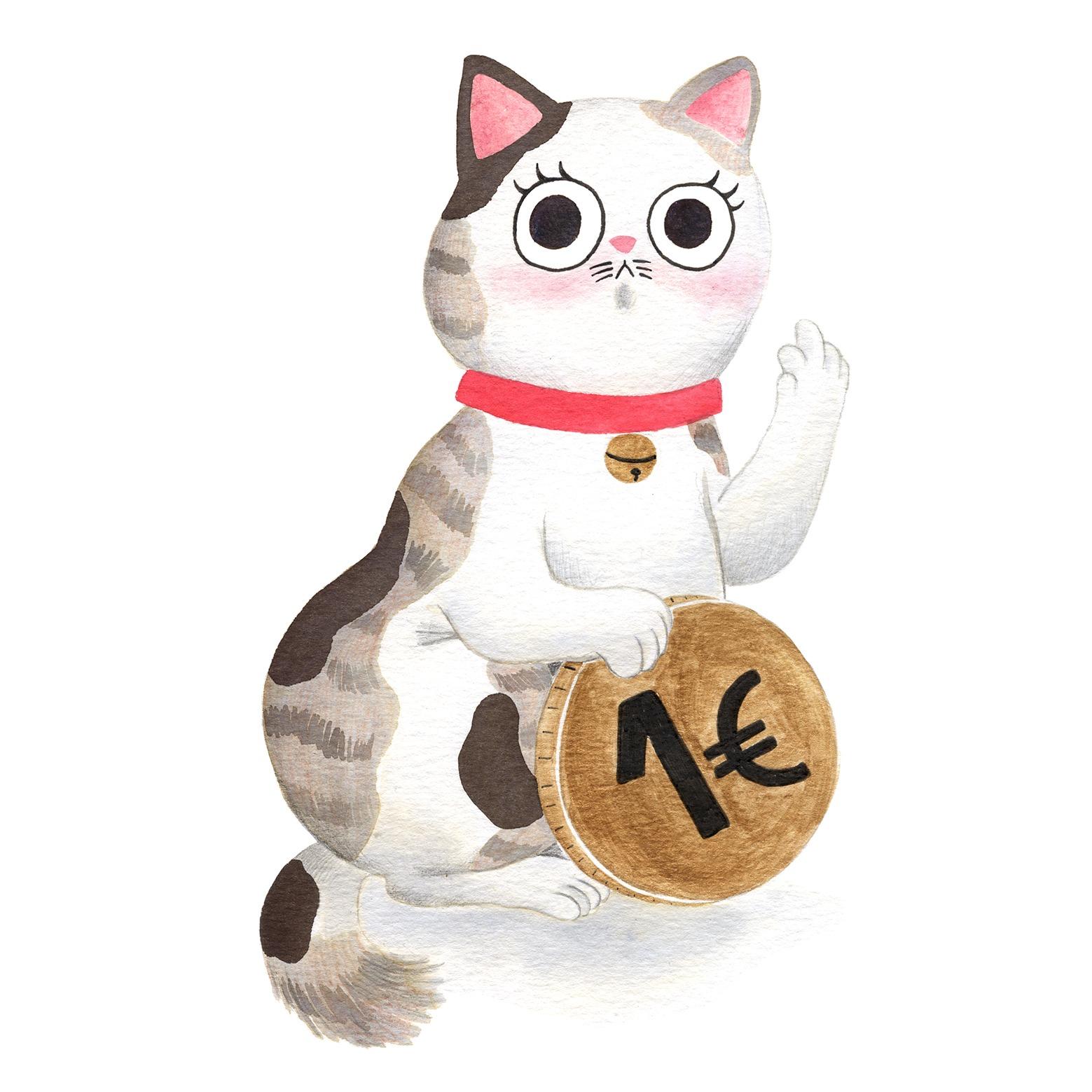 Ilustración de gato, Inktober, gato gordo, retrato de gato, maneki neko, ilustracion de maneki neko,