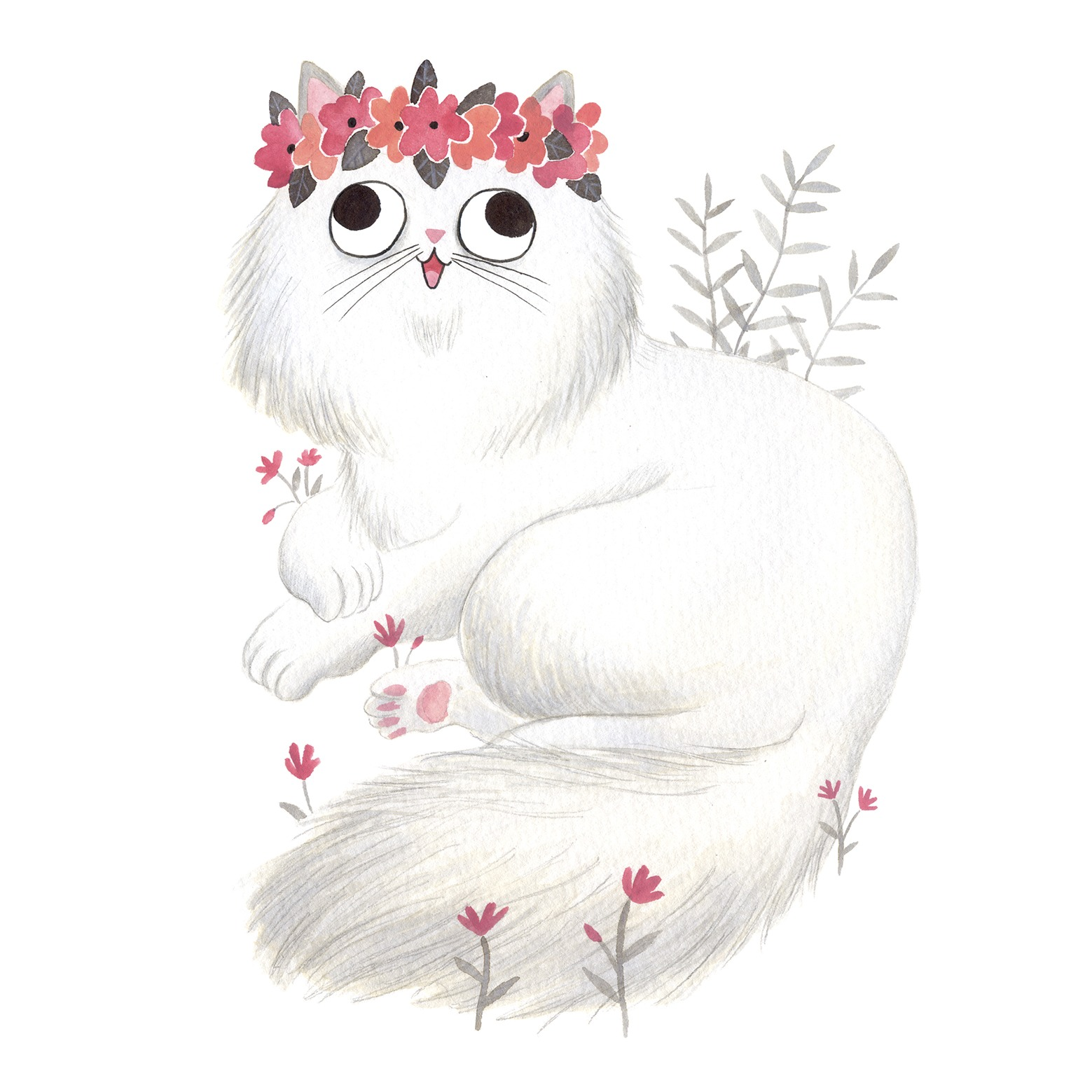 Ilustración de gato, Inktober, gato gordo, retrato de gato, gato y flores, gato y plantas,