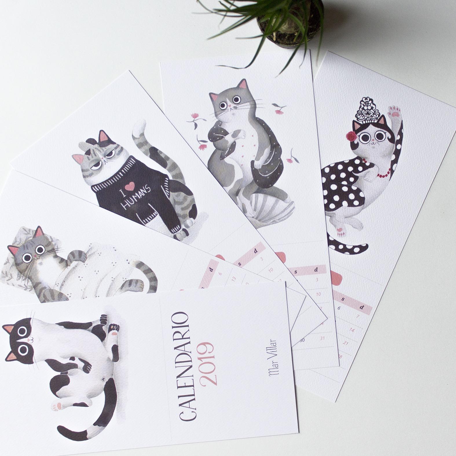 calendario 2019, calendario ilustrado 2019, calendario de gatos 2019, calendario de gatos, ilustración de gato, dibujo de gato, dibujo de gato a tinta