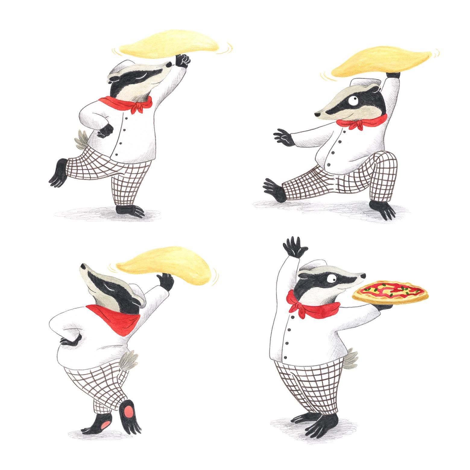 ilustracion infantil, album ilustrado, ilustracion para niños, ilustracion de animales, dibujo para niños, ilustracion de restaurante, Mar Villar, tejón,