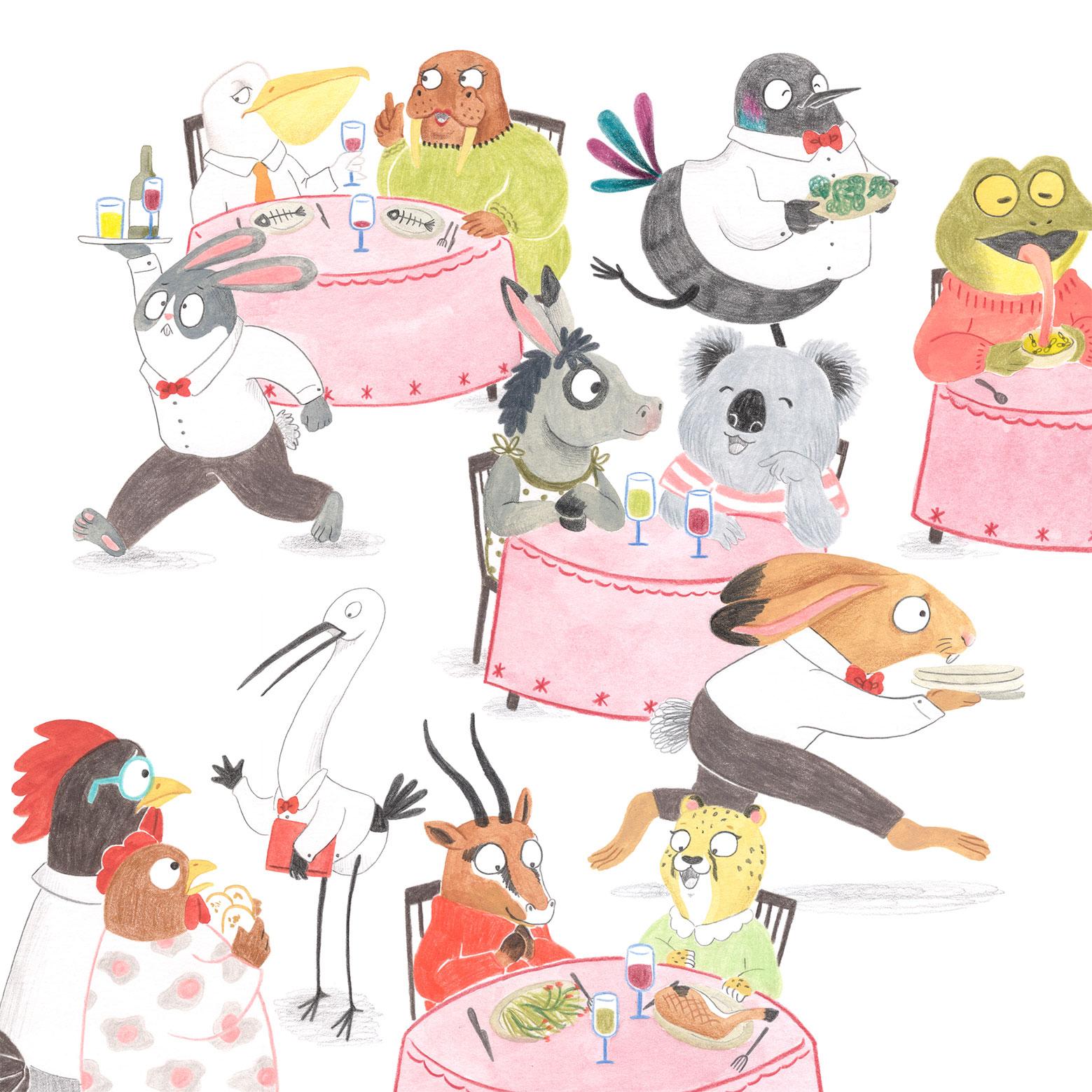 ilustracion infantil, album ilustrado, ilustracion para niños, ilustracion de animales, dibujo para niños, ilustracion de restaurante, Mar Villar, salon de restaurante,