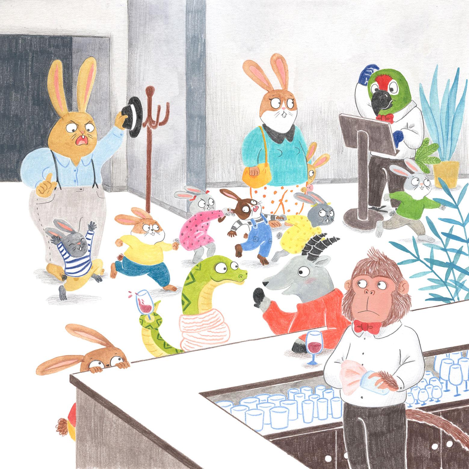 ilustracion infantil, album ilustrado, ilustracion para niños, ilustracion de animales, dibujo para niños, ilustracion de restaurante, Mar Villar,