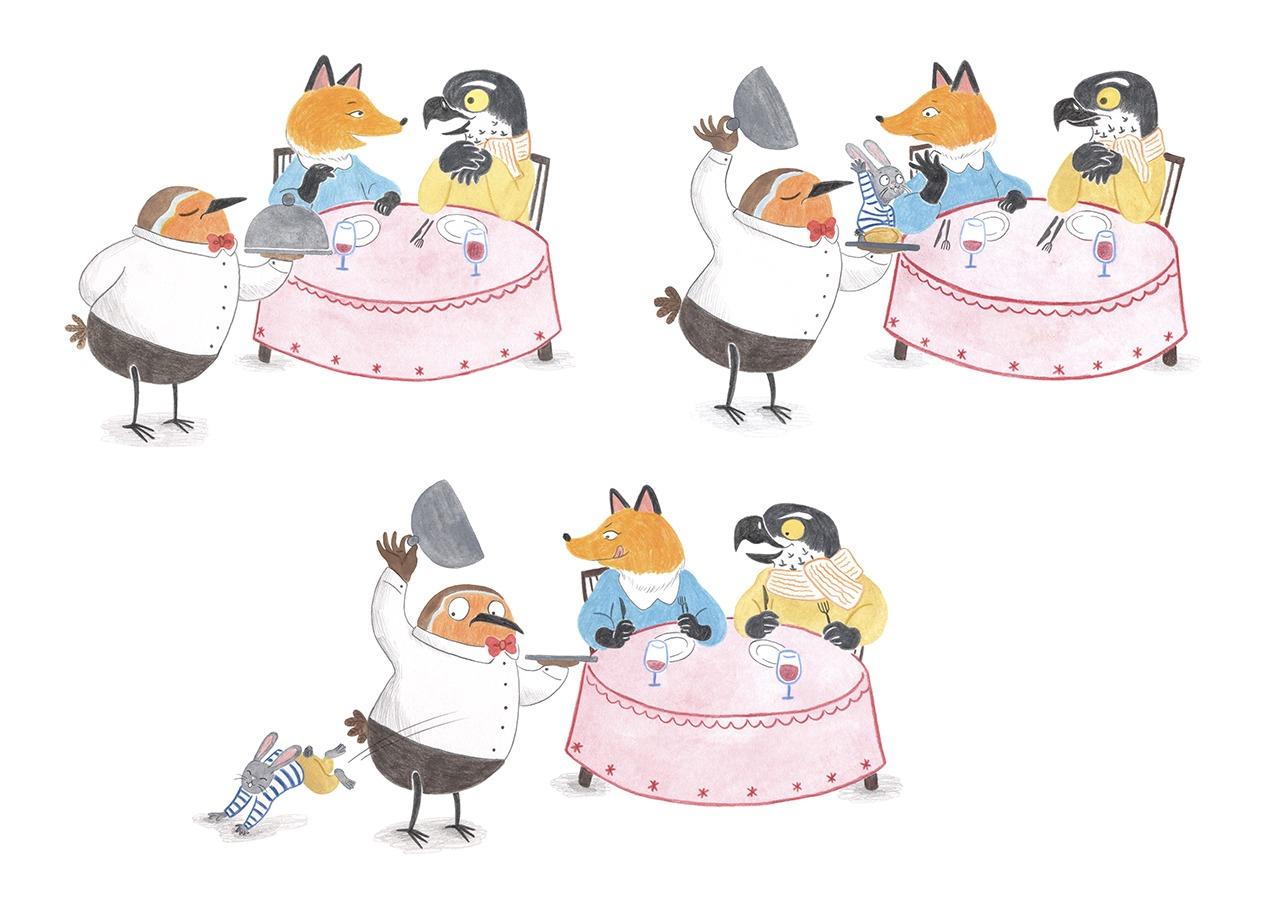 ilustracion infantil, album ilustrado, ilustracion para niños, ilustracion de animales, dibujo para niños, ilustracion de restaurante, Mar Villar, pajaro camarero,
