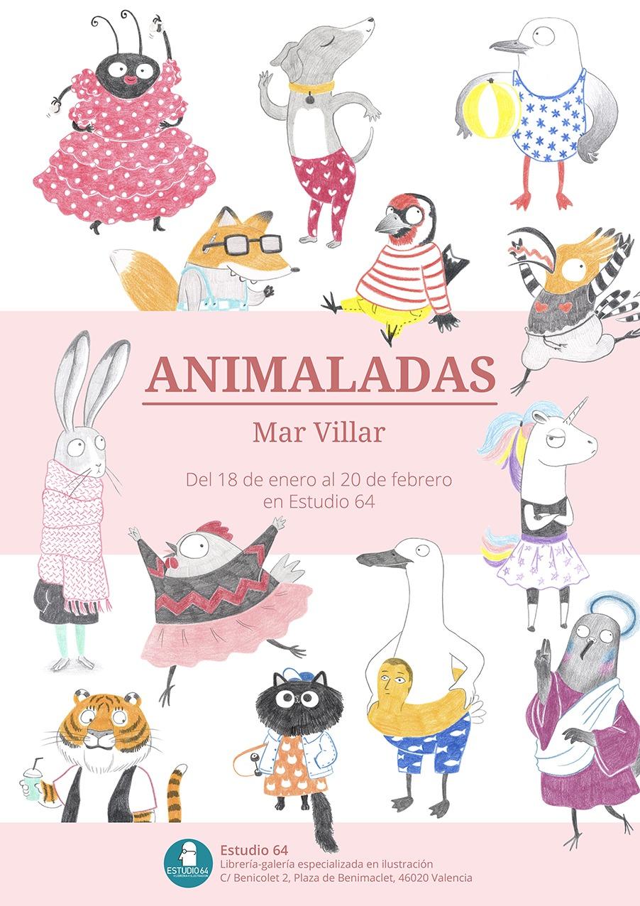 Animaladas, exposición, Estudio 64, Valencia, Benimaclet, exposición de ilustraciones, dibujos de animales, Mar Villar