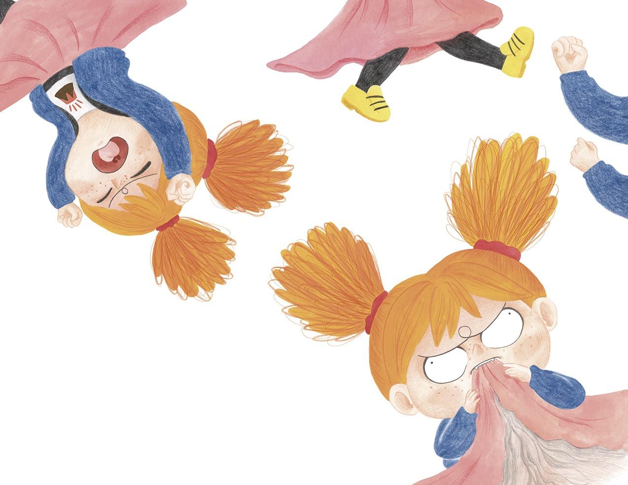 Ana está furiosa, ilustración infantil, ilustración para niños, niña enfadada, Christine Nöstlinger, Mar Villar, El Barco de Vapor, SM, ilustración de niña enfadada,