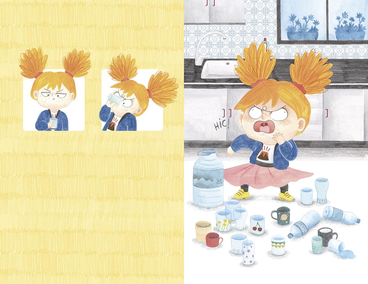 Ana está furiosa, ilustración infantil, ilustración para niños, niña enfadada, Christine Nöstlinger, Mar Villar, El Barco de Vapor, SM, ilustración de niña bebiendo agua,