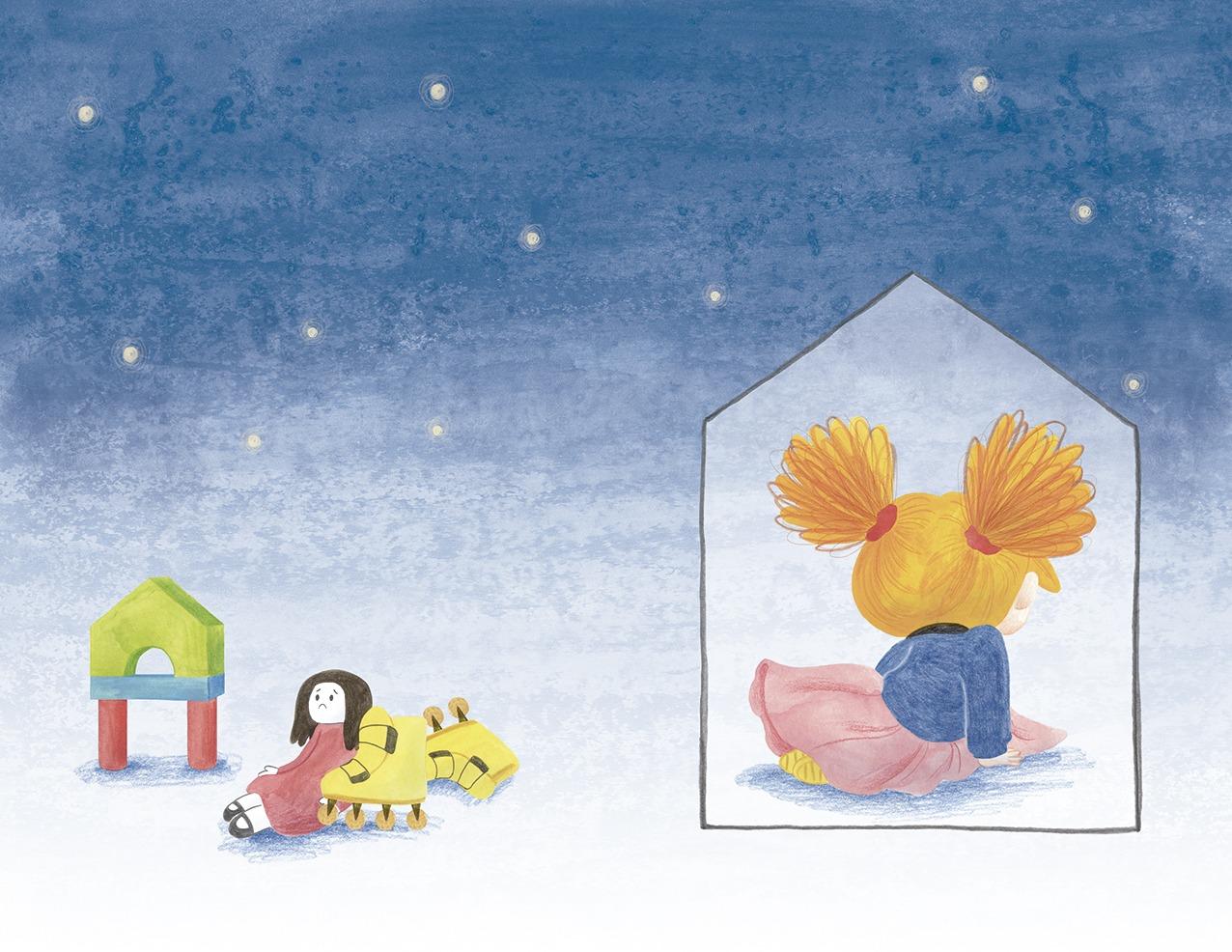 Ana está furiosa, ilustración infantil, ilustración para niños, niña enfadada, Christine Nöstlinger, Mar Villar, El Barco de Vapor, SM, ilustración de niña triste,