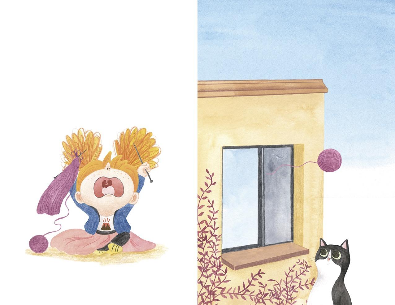 Ana está furiosa, ilustración infantil, ilustración para niños, niña enfadada, Christine Nöstlinger, Mar Villar, El Barco de Vapor, SM, ilustración de niña y gato, ilustración de niña enfadada,