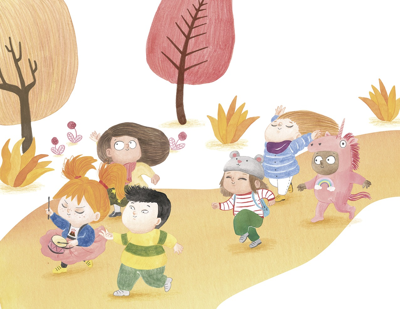 Ana está furiosa, ilustración infantil, ilustración para niños, niña enfadada, Christine Nöstlinger, Mar Villar, El Barco de Vapor, SM, ilustración de niños felices, ilustración de niños bailando,