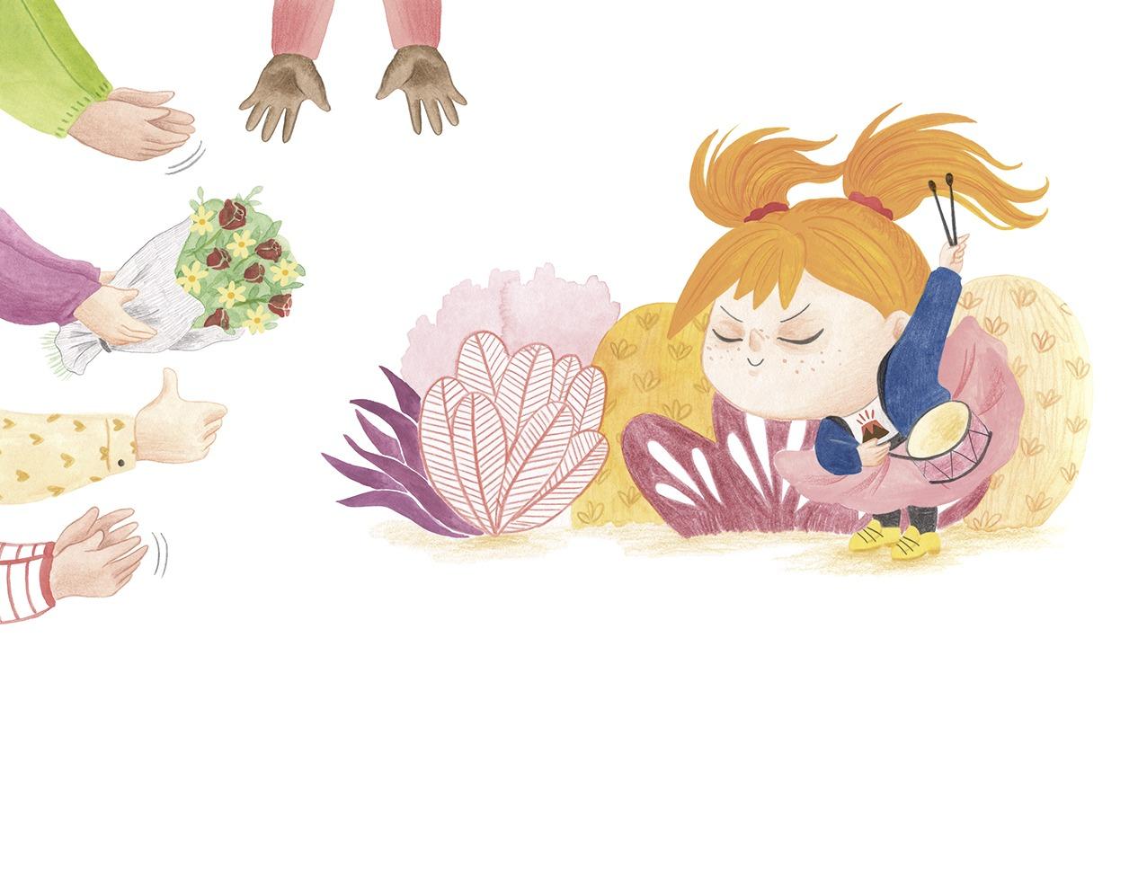 Ana está furiosa, ilustración infantil, ilustración para niños, niña enfadada, Christine Nöstlinger, Mar Villar, El Barco de Vapor, SM, ilustración de niña y tambor,