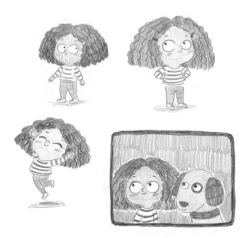 El tren blau, Crüilla, Mar Villar, diseño de personajes, álbum infantil ilustrado, diseño de niña, diseño de personaje infantil, ilustración de personajes,