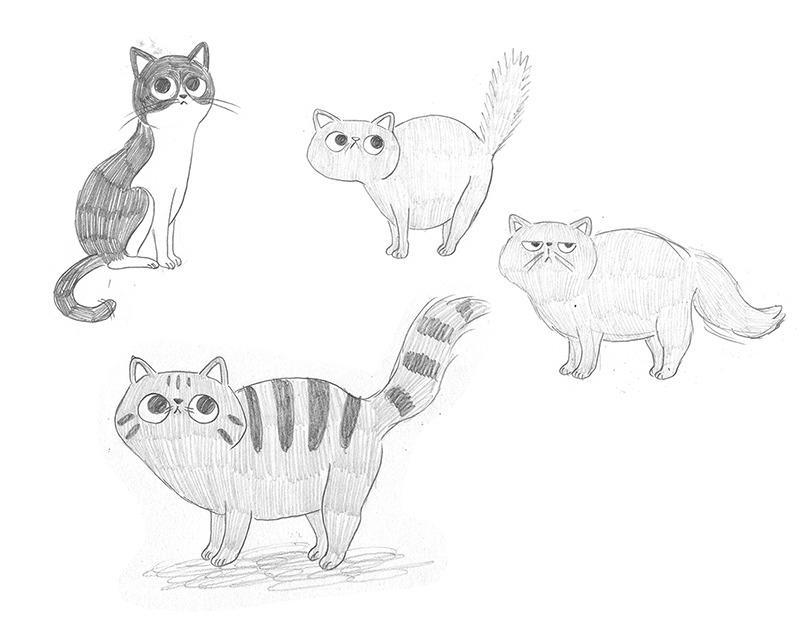 El tren blau, Crüilla, Mar Villar, diseño de personajes, álbum infantil ilustrado, diseño de gato, diseño de personaje de gato, ilustración de personajes,