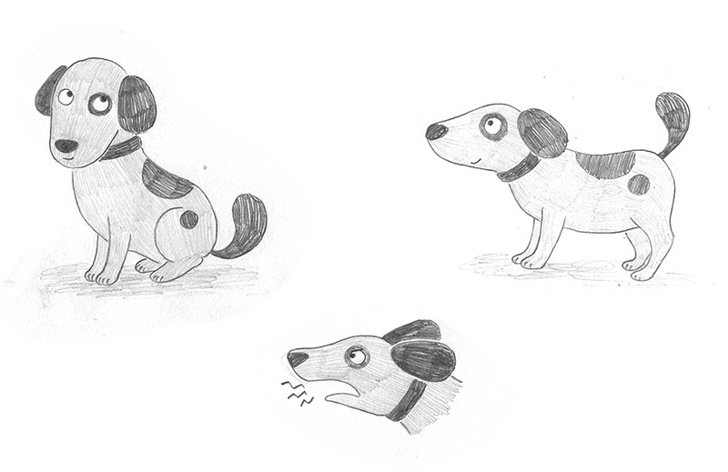 El tren blau, Crüilla, Mar Villar, diseño de personajes, álbum infantil ilustrado, diseño de perro, diseño de personaje de perro, ilustración de personajes,