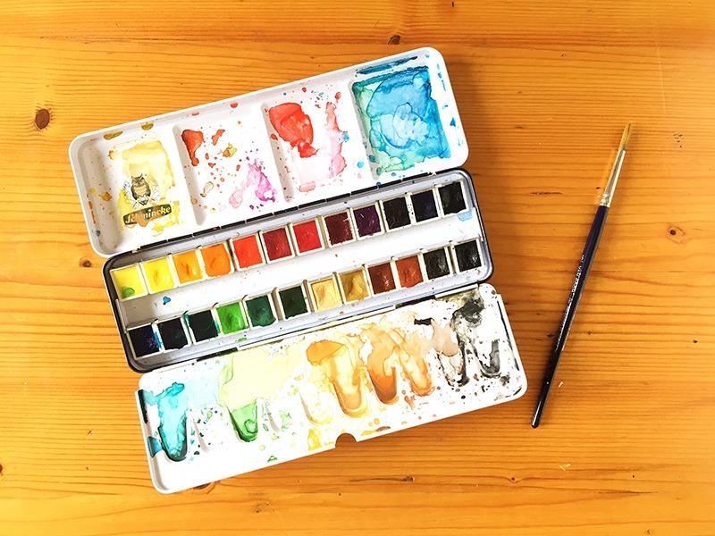 material de ilustración, material que utiliza un ilustrador, material de bellas artes, acuarelas, acuarelas profesionales, Horadam, Schmincke, acuarelas para ilustradores,