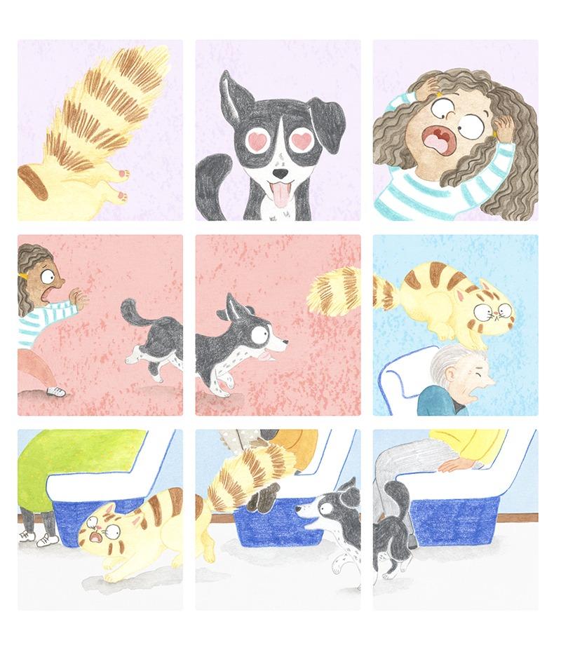 El Tren Blau, Marta Dujovne, cruïlla, ilustración de gato, ilustración de perro, cómic infantil, ilustración infantil, ilustración para niños, libros para primeros lectores,
