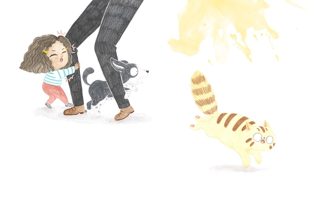 El Tren Blau, Marta Dujovne, cruïlla, ilustración de gato, ilustración de perro, ilustración infantil, ilustración para niños, libros para primeros lectores,